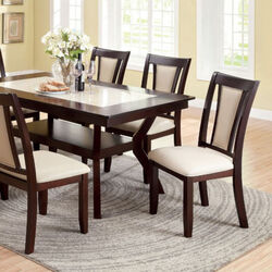 Brent Two Color Dining Table, Dark Cherry & Ivory Finish
