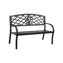 Minot Slated Seat Patio Bench, Black