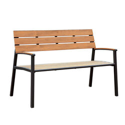 Isha Transitional Style Patio Bench, Oak