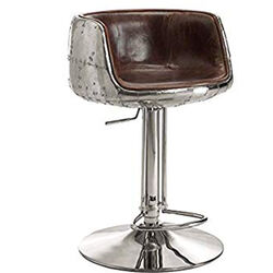 Comfy Adjustable Stool with Swivel, Vintage Brown & Silver