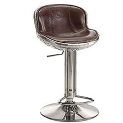 Leatherette Adjustable Metal Frame Stool with Swivel, Brown and Silver