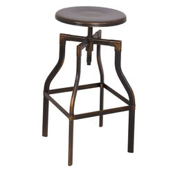 Adjustable Stool with Swivel, Antique Copper