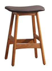 Wooden Counter Height Stool In Dark Brown, Set of 2
