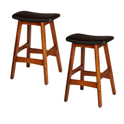 Wooden Counter Height Stool In Black And Brown, Set of 2