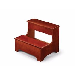Wooden, 2-Step Solid Step Stool, Warm Red Brown