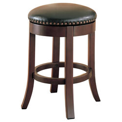 Round Wooden Counter Height Stool with Upholstered Seat, Brown, Set of 2