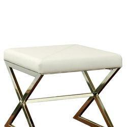 Contemporary Upholstered Stool Metal Base, White