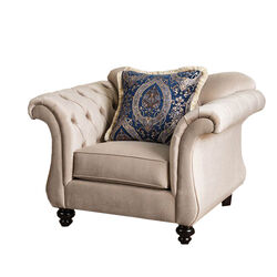Luxurious Chesterfield Inspired Design Chair, Ivory
