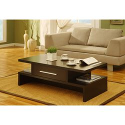 Unique Style Coffee Table With Bar Handle Drawer, Brown