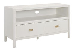 Wooden Media Center with Two Drawers and Open Shelf, White