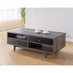 Well - Designed Coffee Table With Customize Decks or Drawers, Gray