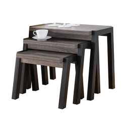 Showcasing Modern End Table, Set of 3, Gray and Black