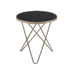 Valora End Table, Black Glass & Champagne