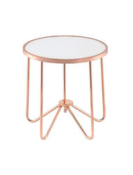 Alivia End Table, Frosted Glass & Rose Gold