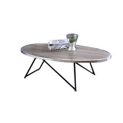 Oval Wooden Banded Top Coffee Table with Irregular Metal Base, Gray