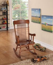Sober Wooden Rocking Chair, Tobacco Brown