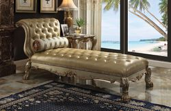 Wooden Chaise with 1 Pillow, Gold