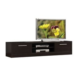 Wooden TV Stand With 2 Sliding Doors, Espresso Brown