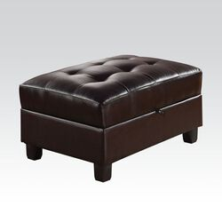Leatherette Upholstered Tufted Ottoman with Storage, Black