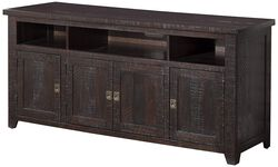 Wooden TV Stand With 3 Shelves and Cabinets, Espresso Brown