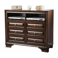 Wooden Media Chest With Six Drawer And Two Open Shelf In Cherry Brown
