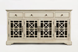 Craftman Series Wooden Media Unit With Fretwork Glass Door Cabinet, Antique Cream