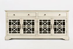 Craftman Series 70 Inch Media Unit with Fretwork Glass Front, Antique Cream