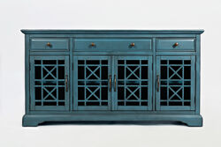 Craftman Series 60 Inch Wooden Media Unit with 3 Drawers, Antique Blue