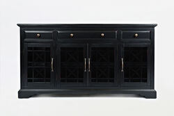 Craftman Series 60 Inch Wooden Media Unit with 3 Drawers, Antique Black