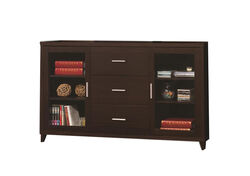 Modern & Minimal Style TV Console With Multi Shelves & Drawers, Cappuccino Brown
