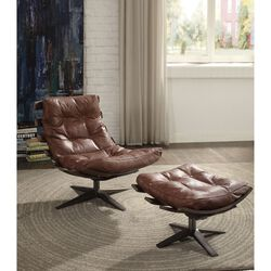 Faux Leather Upholstered Chair & Ottoman with Metal base, Pack Of Two, Brown