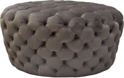 Velvet Upholstered Button Tufted Round Accent Ottoman, Dusk Gray