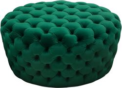 Velvet Upholstered Button Tufted Round Accent Ottoman, Green