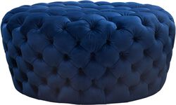 Velvet Upholstered Button Tufted Round Accent Ottoman, Blue
