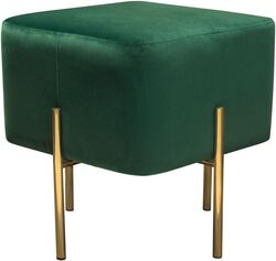 Velvet Upholstered Modern Square Accent Ottoman with Stainless Steel Frame, Emerald Green and Gold