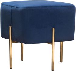 Velvet Upholstered Modern Square Accent Ottoman with Stainless Steel Frame, Blue and Gold