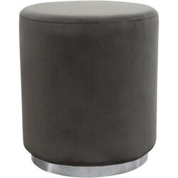Velvet Upholstered Round Accent Ottoman with Metal Base, Gray and Chrome