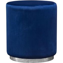Velvet Upholstered Round Accent Ottoman with Metal Base, Blue and Chrome