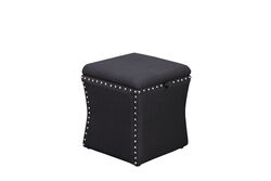 Fabric Upholstered Lift Top Storage Wooden Ottoman with Nail headDecorative Base, Black