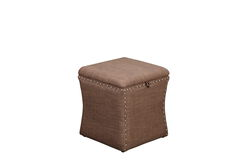 Fabric Upholstered Lift Top Storage Wooden Ottoman with Nail headDecorative Base, Brown