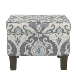 Wooden Ottoman with Patterned Fabric Upholstery and Hidden Storage, Gray and Blue