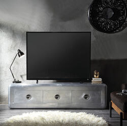 Wooden TV Stand with Aluminum Patchwork and Three Spacious Drawers, Silver