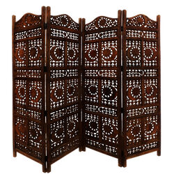 Hand Carved Sun And Moon Design Foldable 4 Panel Wooden Room Divider, Brown