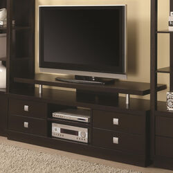 Minimal Style Wooden TV Console With Multi Storage, Cappuccino Brown
