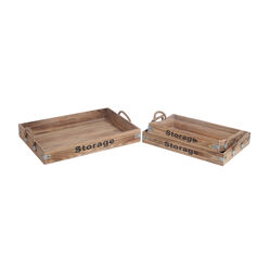 Farmhouse Style Wooden Trays with Rope Handles, Set of 3, Brown
