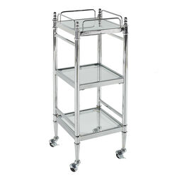 Transitional Style Metal Cart with Three Shelves, Silver and Clear