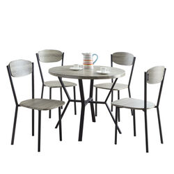 5-Piece Round Dining Table & Chair