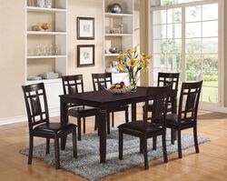 Elegant Dining Set, Espresso Brown, 7 Piece Pack