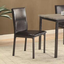 Contemporary Upholstered Dining Chair with Full Back, Black, Set of 2