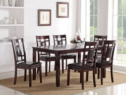 7 Pieces Dining Set of Rubber Wood In Espresso Brown